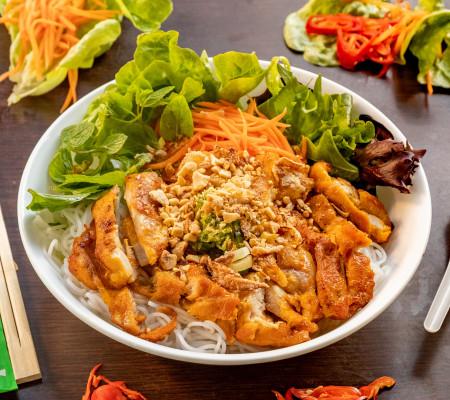 Charcoal  lemongrass chicken vermicelli salad